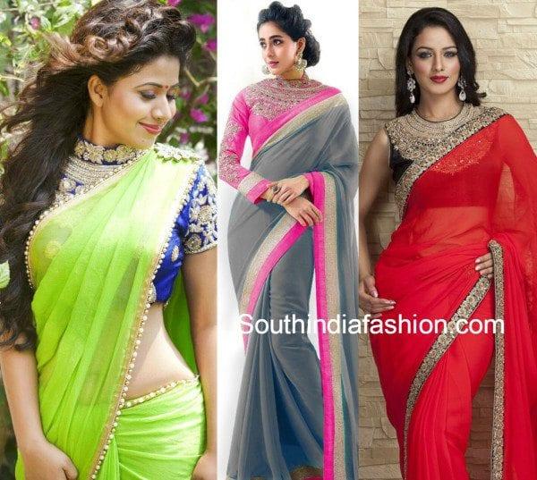 plain_sarees_with_maharani_blouse