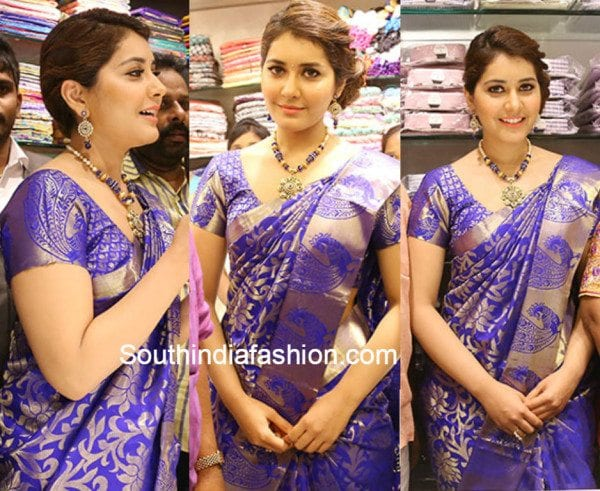 raashi_khanna_blue_pattu_silk_saree_store_launch_warangal