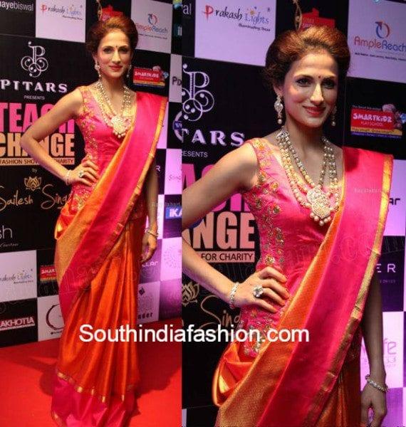 shilpa_reddy_silk_saree_corset_blouse