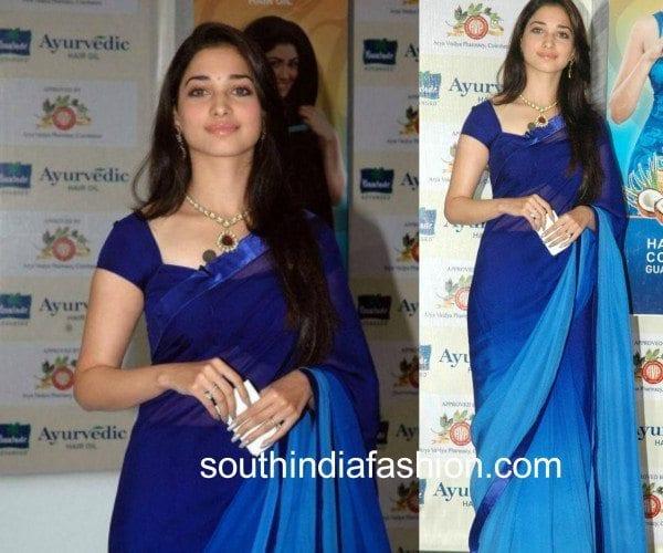 tamanna in blue saree