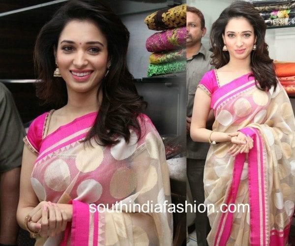tamannaah in a pink and cream jute saree