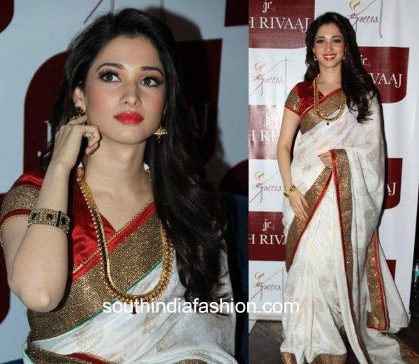 tamannaah in white and red saree at joh rivaaj
