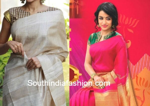 v_neck_blouse_with_silk_sarees
