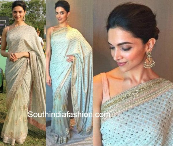 Deepika Padukone in Sabyasachi Saree at a Polo game