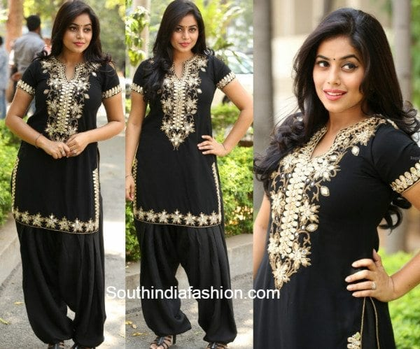 Poorna in a black mirror work salwar suit at Raju Gari Gadhi success meet