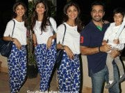 Shilpa Shetty in printed trousers and a white tee at iqra and shahraans birthday party