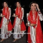Shilpa Shetty in White & Red Salwar Suit