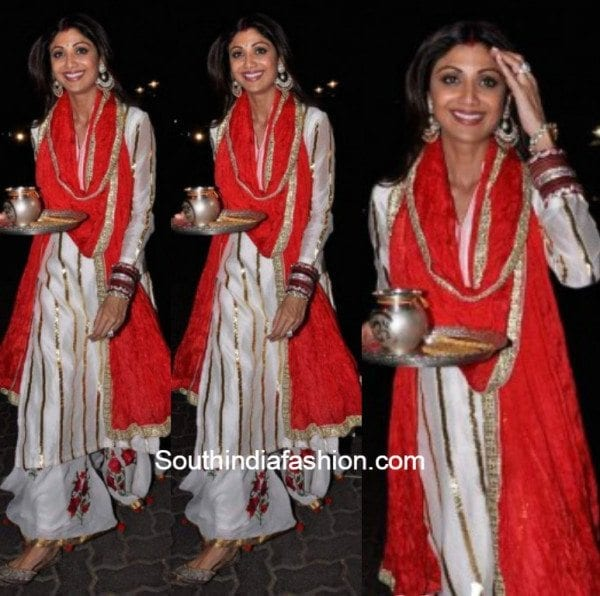 Shilpa Shetty in white and red salwar suit at karva chauth