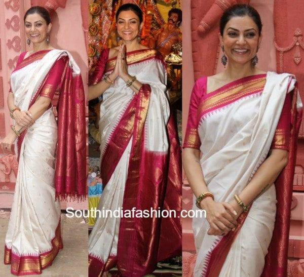 Sushmita Sen in white and red kanjeevaram at Durga Puja