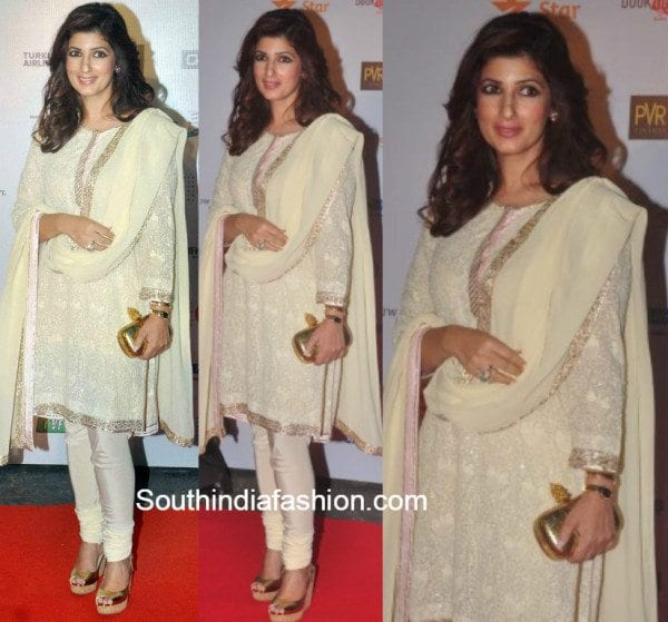 Twinkle khanna in an abu jani sandeep khosla salwar suit for Interior designs by twinkle khanna