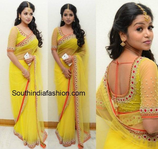 bhavya_sri_yellow_net_saree
