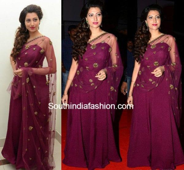 hamsanandini_purple_dress_at_bengal_tiger_audio_launch