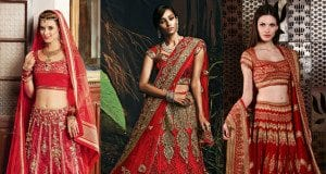 red bridal lehengas