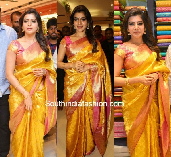 samantha_yellow_kanchipuram_pattu_saree_southindia_shoppingmall_opening