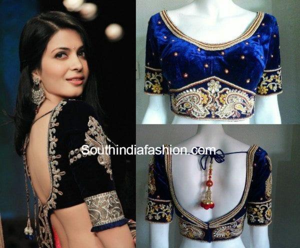 velvet blouse designs with 3/4th sleeves