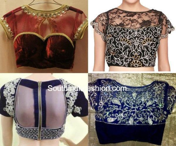 sheer velvet blouse designs