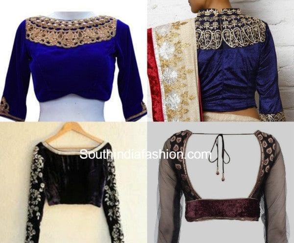 full-sleeved velvet blouse designs