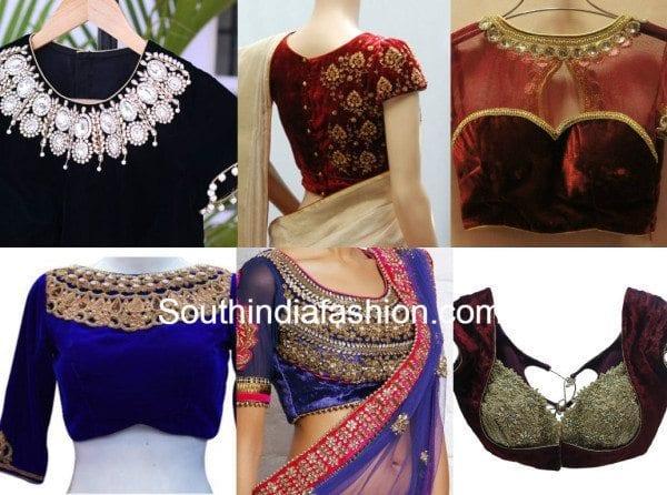 velvet blouse designs feat