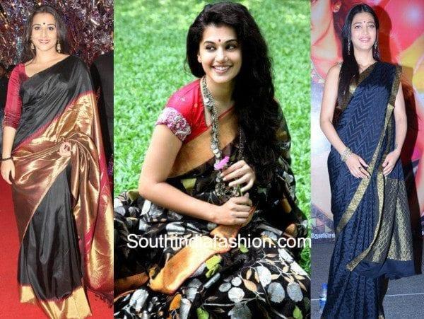 Celebrities in black kanjeevarams feat