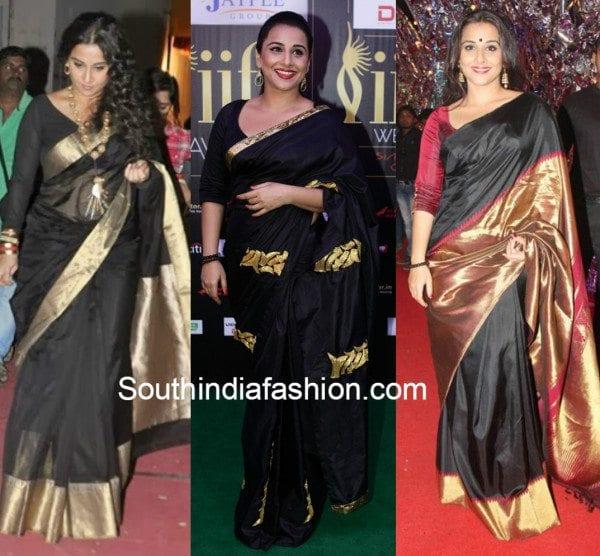 Vidya Balan in black kanjeevarams 3