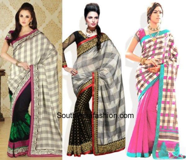 checkered sarees