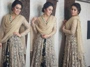 Hansika in a Peppermint diva anarkali