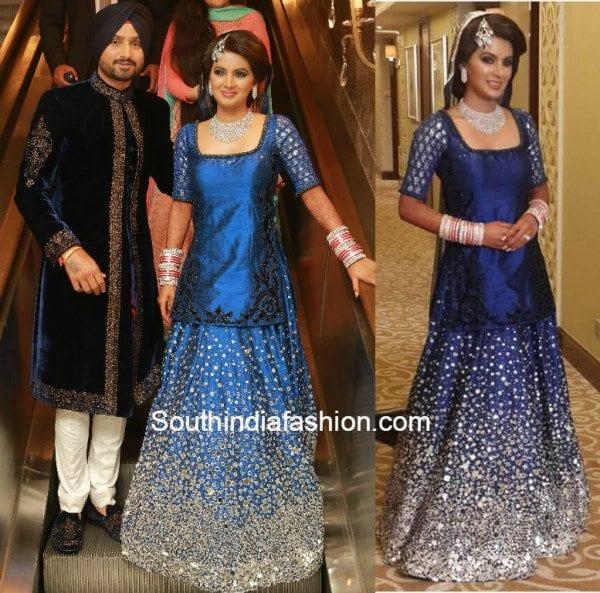Harbhajan Singh and Geeta Basra in Archana Kocchar at their wedding reception