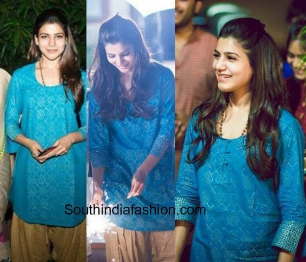 Samantha in kurta and patiala celebrating diwali