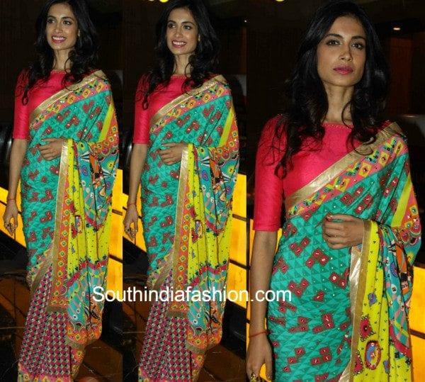 Sarah Jane Dias in a printed saree at the Mumbai Film festival