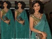 Shilpa Shetty in Manish Malhotra saree at a Diwali bash