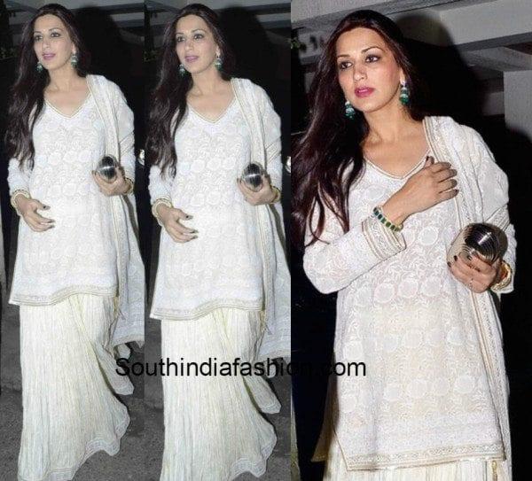 Sonali Bendre in white salwar palazzos