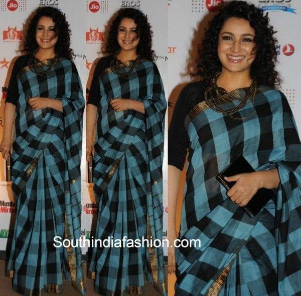 Tisca Chopra in checkered saree