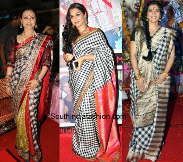 celebrities in checkered silk sarees