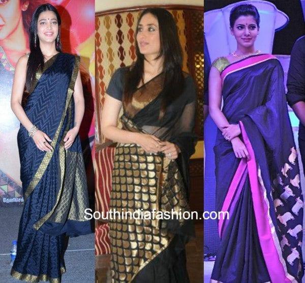kareena, shruti hassan and samantha in black kanjeevarams