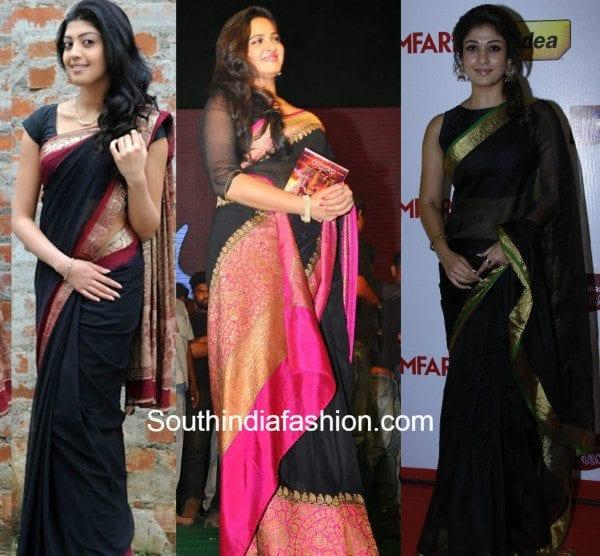 nayanatara pranitha and anushka in black kanjeevarams
