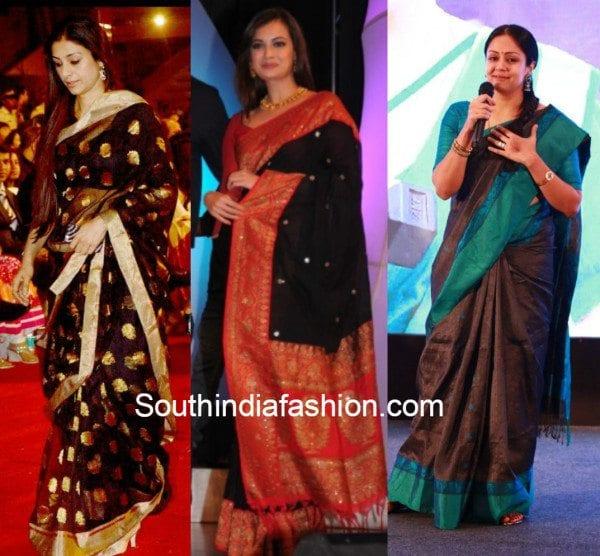 Dia Mirza, Tabu and Jyoythika in black kanjeevarams
