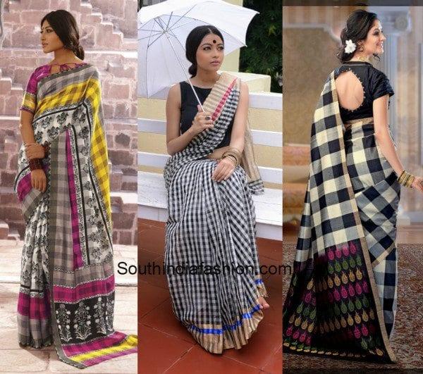 checkered silk designer sarees