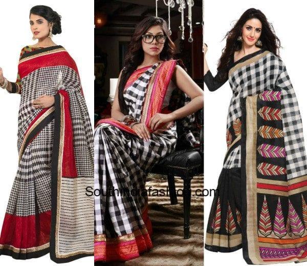 checkered latest sarees