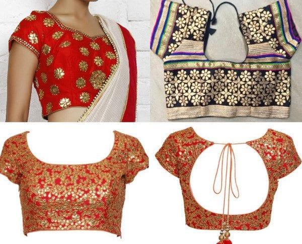 gota patti work patterns on blouses
