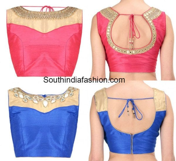 mirror work boat neck blouse designs
