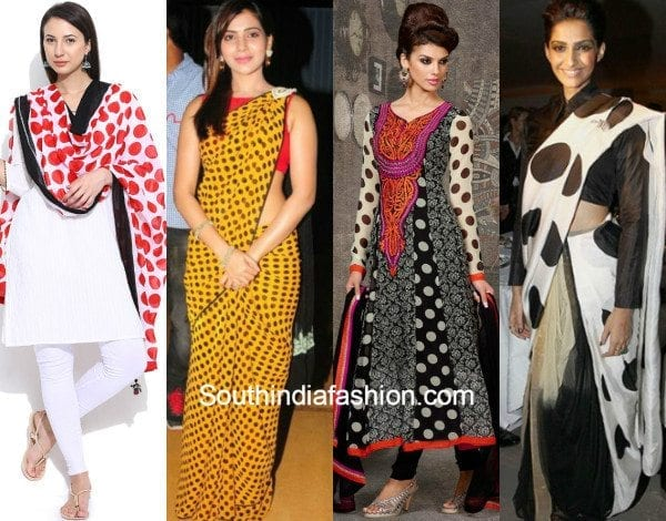 polka dots on desi outfits feat