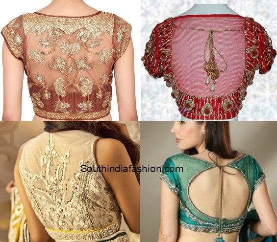 transparent back net blouse designs