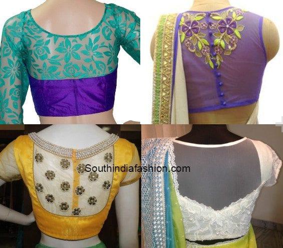 sheer blouses back neck designs