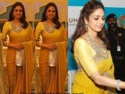 sridevi at vasundhara jewellers launch in a yellow saree