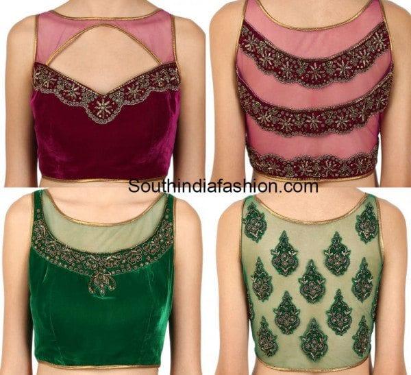 velvet_net_blouse_designs