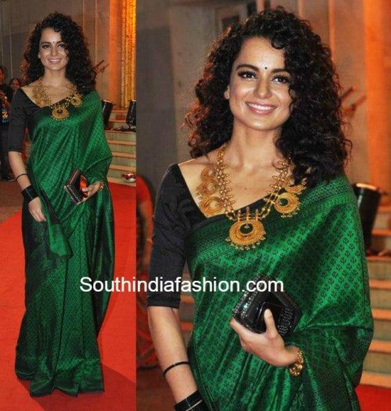Kangana Ranaut in a green traditional saree