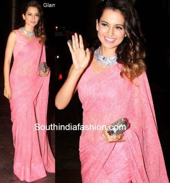 Kangana Ranaut in a pink saree