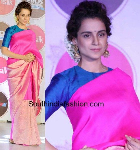 Kangana Ranaut in a pink kanjeevaram saree