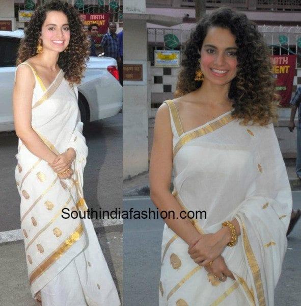 Kangana Ranaut in a white silk saree
