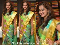 Nanditha in a checkered silk saree